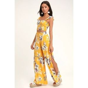 Lulus Yellow Floral Print Two Piece Set